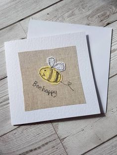 This pretty original textile greeting card has bee. - This pretty original textile greeting card has bee… – Best Embroidery Machine, Freehand Machine Embroidery, Free Motion Embroidery, Machine Embroidery Projects, Fabric Cards, Fabric Postcards, Embroidery Cards, Embroidery Ideas, Embroidery Thread
