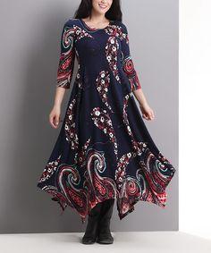 Navy Swirl Handkerchief Maxi Dress - Plus #zulily #zulilyfinds