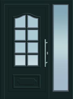 Modell Kappa 1 Aluminium-Eingangstüre in grau mit Seitenteil - Außenansicht! Sternstunden-Türen erhätlich bei Fenster-Schmidinger aus Gramastetten in Oberösterreich! #doors #türen #alutüren #sternstunden