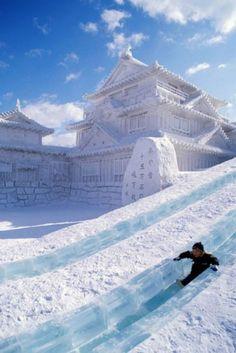 Sapphoro Snow Festival, - life size snow scultures, Hokkaido, Japan