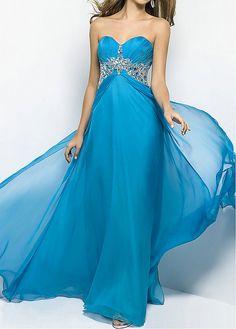 Striking Chiffon A-line Sweetheart Neckline Empire Waist Beaded Full Length Prom Dress