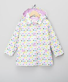 Take a look at this White Heart Raincoat - Infant, Toddler & Girls by Sugar Pink: Fall Favorites on today! Toddler Girls, Infant Toddler, Kids Wardrobe, Rain Wear, Designer Wear, Pink White, Lilac, Kids Fashion, Raincoat