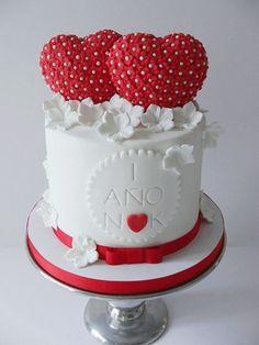 Pretty Tiny Red Flowers Heart Birthday Cake