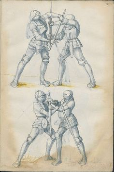 art-of-swords: Sword Fighting Manual Dated: circa 1500 Pages from a book from the State Library of Berlin. Proper swordsmanship: holding the blade and hitting someone in the face with the hilt. Medieval Knight, Medieval Art, Renaissance, Historical European Martial Arts, Armadura Medieval, Sword Fight, Landsknecht, Arm Armor, Chivalry