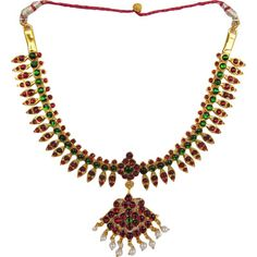 Temple Jewelry Short Necklace With Kemp & Pearls. Bharatnaytam dance jewelry online USA