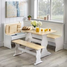 3 pc White Wooden Top Breakfast Nook Dining Set Corner Booth Bench Kitchen Table - Dining Table - Ideas of Dining Table Corner Bench Kitchen Table, Kitchen Table Makeover, Kitchen Dining Sets, Dining Room Bar, Corner Dining Nook, Rustic Kitchen, Booth Dining Table, Built In Dining Room Seating, Dining Area