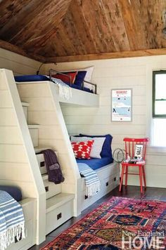 BUNK ROOM: Darling bunks in a Maine lake house by Interior designer Kristina Crestin. New England Home. Rustic Lake Houses, Rustic Barn, Rustic Cabins, Log Cabins, Rustic Modern, Rustic Wood, Haus Am See, Bunk Rooms, Style Deco