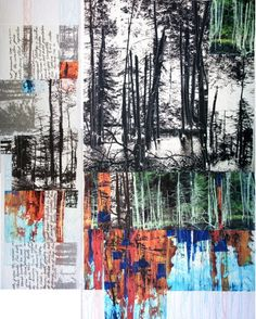 Ideas For Landscape Paintings Fine Art Abstract Trees Collages, Collage Art, Tree Collage, Nature Collage, Mondrian, Landscape Art, Landscape Paintings, Arctic Landscape, A Level Art Sketchbook