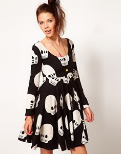 Lazy Oaf Skull Skater Dress = girly silhouette x badass print ...whats not to love!