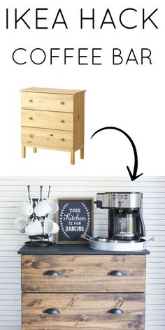 I love this Ikea hack! Create a simple DIY coffee bar using an Ikea Tarva dresser. The wood and black make this perfect for a modern farmhouse style beverage station! decor diy ikea hacks Ikea Tarva Hack and Coffee Bar Essentials Ikea Hacks, Ikea Tarva Hack, Malm Hack, Ikea Tarva Dresser, Diy Hacks, Diy Nightstand, Ikea Drawers, Bedside Tables, Wood Dresser