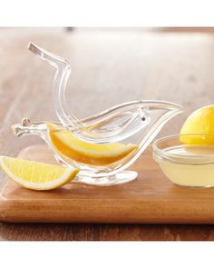 There's nothing better than freshly-squeezed lemon juice, especially when using this juicer! Buy it here: http://www.bhg.com/shop/williams-sonoma-bird-shaped-lemon-juicer-p505c1b2f82a71c80fdfd4605.html?socsrc=bhgpin110312shopbirdlemonjuicer