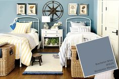 Benjamin Moore's Bachelor Blue is perfect for a guest bedroom at a beach house.