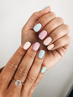 """If you're unfamiliar with nail trends and you hear the words """"coffin nails,"""" what comes to mind? It's not nails with coffins drawn on them. It's long nails with a square tip, and the look has. Cute Acrylic Nails, Cute Nails, Pretty Nails, Pastel Nail Art, Pastel Nail Polish, Nail Polish Trends, Summer Nail Polish Colors, Pastel Pink Nails, Neutral Nail Art"""