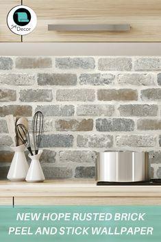 New Hope Rusted Brick Peel And Stick Wallpaper In 2020 Diy Backsplash Diy Kitchen Backsplash Kitchen Wallpaper