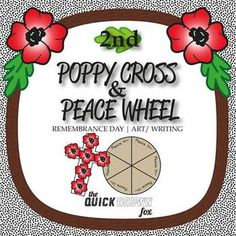 """""""Poppy Cross"""" and the """"Peace Wheel"""" are Grade art, writing, reading and brainstorming activities for Remembrance Day. My students have a lot of fun creating these poppy crosses and their """"Peace Wheels"""" and can't wait to take them home! Brainstorming Activities, Teaching Ideas, Activities For Kids, Remembrance Day Activities, Remembrance Day Poppy, Poppy Craft, French Nursery, Anzac Day, Sunday School Lessons"""