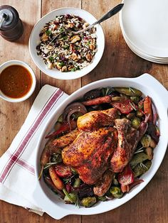 Herbed Chicken with Beets & Brussels Recipe - Country Living/Made this 9-12-14.  Chicken was excellent, beets...not so much.  Skipped the brussels because I couldn't find any decent ones.  Will try this again with the old carrots and cabbage standbys.*