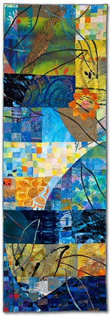 """Walking Through Time XII (Dusk)"", 75"" x 25"", art quilt by Sue Benner.  Dye & paint on silk & cotton, found fabrics, fused, mono-printed, machine quilted."