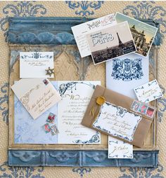 Blue- cute idea- stain some decorative trim and add to top and bottom of bulletin board (or dry erase board) to jazz it up! (I shared this because I just loved the vintage, blue Victorian look of this. I have loved anything blue Victorian since kindergarten.)
