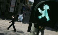 The 'Ampelmännchen', East Germany's 'green man' on traffic lights, designed by Karl Peglau, and today a symbol of German reunification. (Guardian)