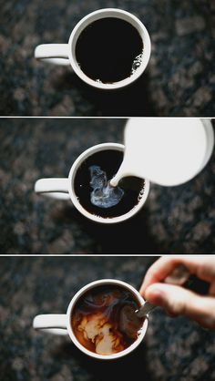 "Coffee: A daily routine (Actually, I just like the ""milk clouds"" when you pour the cream in. ^_^)"