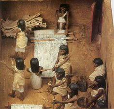 Model of a Weaving Workshop from the Tomb of Meketre XI Dynasty (2134-1991 BC) * Painted wood H 25 CM, W 42 CM, Length 93 CM