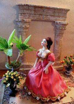 "Dollhouse Miniature 1:12 Scale Artisan Made Dollhouse Doll ""Serena"". $125.00, via Etsy."