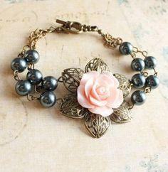 Pink Rose Bracelets Cuff Smoke Black Blue