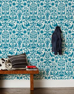 I love everything Otomi. {Otomi -Turquoise Wallpaper} by Emily Isabella for Hygge & West Modern Wallpaper, Wall Wallpaper, Designer Wallpaper, Pattern Wallpaper, Wallpaper Stencil, Beautiful Wallpaper, Wallpaper Samples, Bathroom Wallpaper, Turquoise Wallpaper