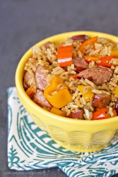Smoked Sausage and Rice Skillet with Sweet Peppers