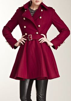 Burgundy Wool Coat / Miss Sixty  Love me gorgeous coats and this one looks fab with the leathers!