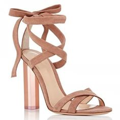 Shoespie Solid Color Strappy Clear Chunky Heel Sandals