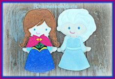Felt dolls inspired by Disneys Frozen.  Wanna build a Snowman?  Ann- with dress and cape Elsa- with dress  Are you ready for a road trip, nice family dinner, doctors visits? Your little Princess will have hours of quiet fun playing with this Felt Doll. Did you play with paper dolls when you were younger? These are just like our dolls and will bring back many fond memories.  This listing is for our Cassi doll and outfit (shown in pictures with red hair, blue eyes and light skin). Each doll…