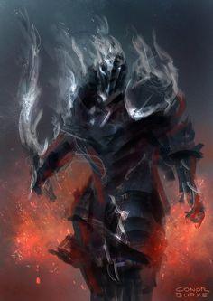 Smoke Knight by conorburkeart Fantasy Concept Art, Fantasy Armor, Medieval Fantasy, Aliens, Knight Armor, Ghost Armor, Wow Art, High Fantasy, Fantasy Inspiration