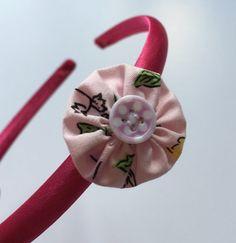 Girls pink flower headband flower girl headband cute by Minimelton
