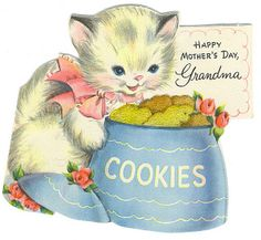 """Happy Mother's Day, Grandma"" kitten &  cookie jar"