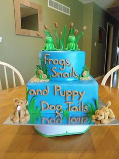 http://www.babyshowerinfo.com/themes/boys/frogs-snails-and-puppy-dog-tails-baby-shower-theme/ - Frogs, Snails and Puppy Dog Tails Baby Shower Theme