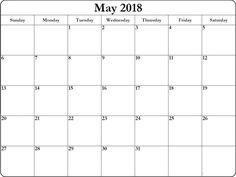 May 2018 Word Excel PDF Calendar Planners