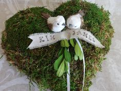 Heart Moss Wedding Ring PillowPersonalized by creations4brides, $32.00