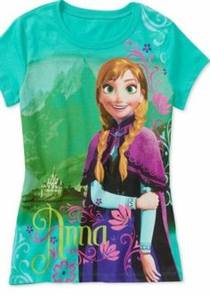Disney Frozen Anna And The Mountains Girls Shirt Size 6/6X