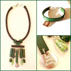 necklace, leather, glass beads
