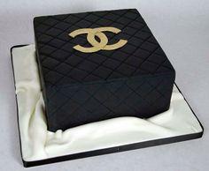 Chanel cake, black, gold Chanel logo
