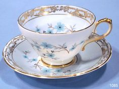 Crystal Teacup and Saucer,  from sovereign house in ice blue