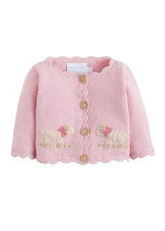 This pink crochet bow sweater will keep her stylish & warm. Accented with our delicate wooden buttons & a hand-crocheted bow she'll be pretty in pink! Pull Crochet, Crochet Bows, Crochet Slippers, Crochet Dresses, Baby Sweater Knitting Pattern, Baby Knitting Patterns, Baby Patterns, Baby Sweater Patterns, Crochet Baby Cardigan