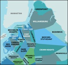Brooklyn map showing the neighborhoods and closeness to Manhattan.
