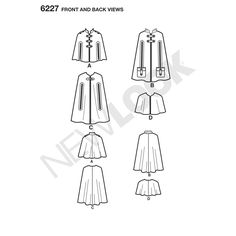 Pattern for Misses' Cape in Three Lengths   Simplicity