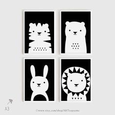 Art print download kwekerij Art Set van 4 dier Poster Tiger