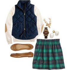 Plaid and Tory Burch combo