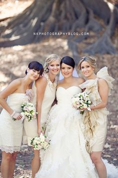 Beautiful bride + her lovely bridesmaids