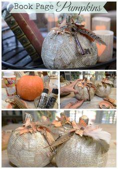 Book Page Pumpkins -