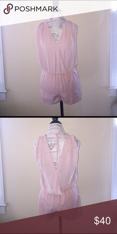 Sheer Champagne Romper Light and airy pink romper with tie in the back Naked Zebra Dresses Mini